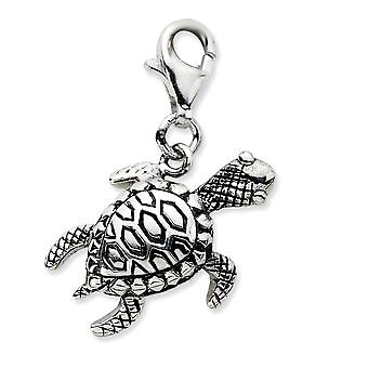925 Sterling Silver Antique finition Fancy Lobster Closure Click-on Antiqued Turtle Charm - Measures 25x19mm