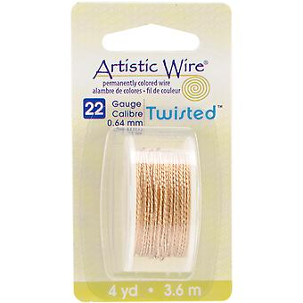 Artistic Wire Twisted Round Non Tarnish Brass 22 Gauge 4Yd Awd22tnt