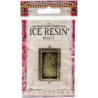 Ice Resin Milan Bezels Closed Back Rectangle Medium-Antique Bronze IRB50698