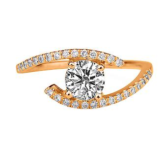 1.15 Carat F VS2 Diamond Engagement Ring 14K Rose Gold Solitaire w Accents Micro Pave Round