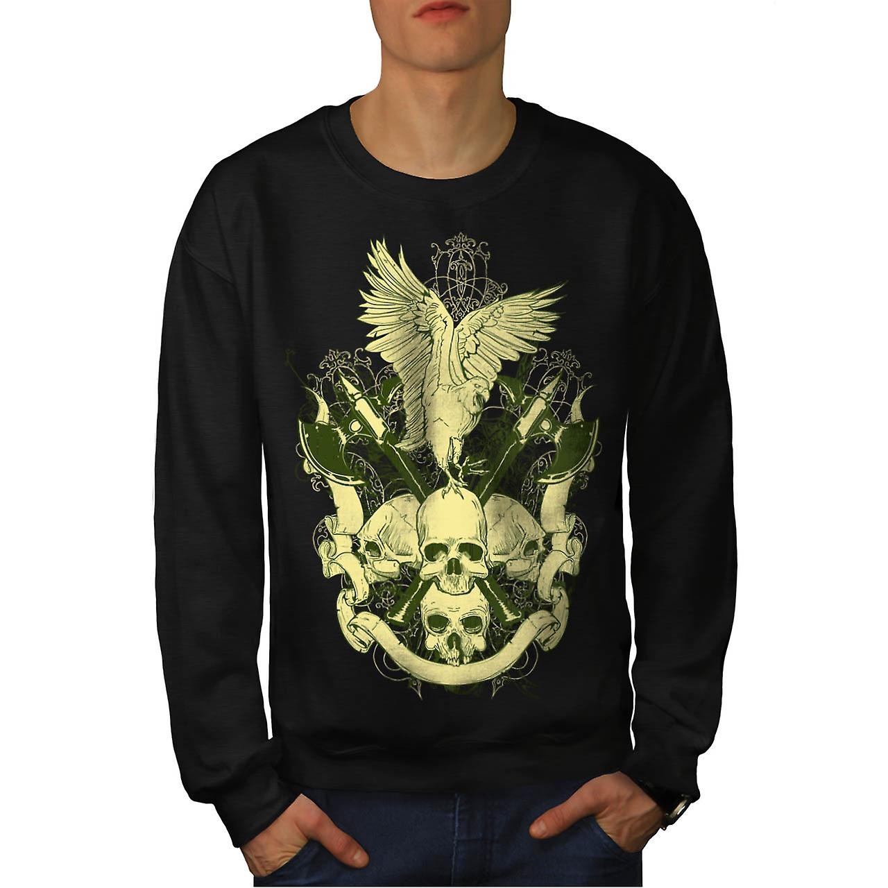 Eagle Bird Skull Axe Battle Fear Men Black Sweatshirt | Wellcoda