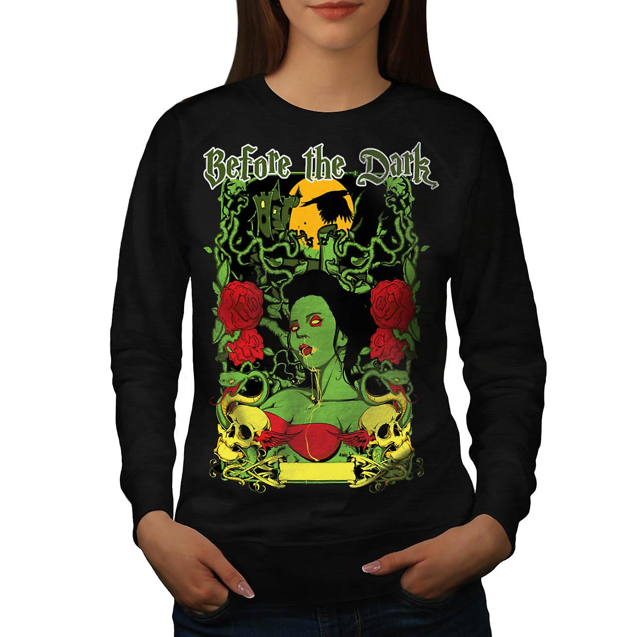 Before Dark Vampire Zombie Girl Women Black Sweatshirt | Wellcoda