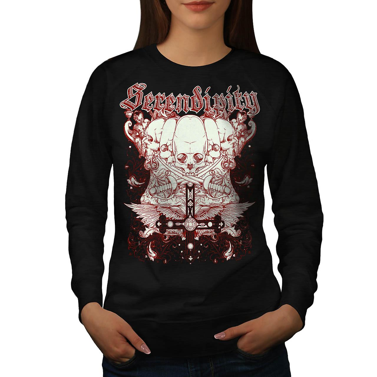 Serendipity Tombstone Grave Yard Women Black Sweatshirt | Wellcoda