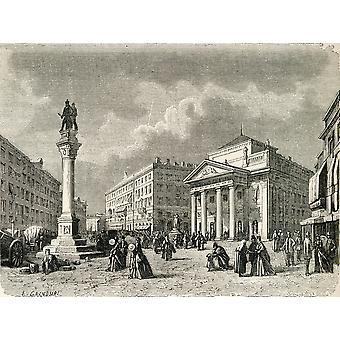 Stock Exchange Square Trieste Italie au XIXe siècle d'El Mundo En La Mano a publié PosterPrint de 1878