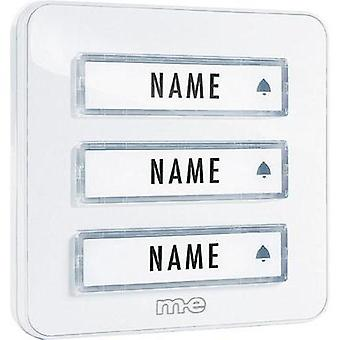 Bell panel with nameplate 3x m-e modern-electronics KTA-3 W White 12 V/1 A