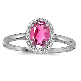 10k White Gold Oval Pink Topaz And Diamond Ring