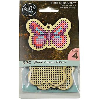 Wood Butterfly Punched For Cross Stitch-4/Pkg 60021