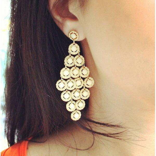 W.A.T And Cream Style Layered Earrings