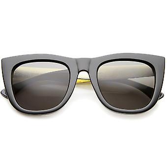 High Fashion Alligator Metal Temple Bold Rimmed Flat Top Sunglasses