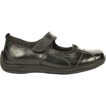 Hush Puppies Girls School Shoe Cindy Black Leather F fitting