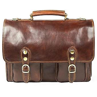 David Van Hagen Leather Briefcase - Brown