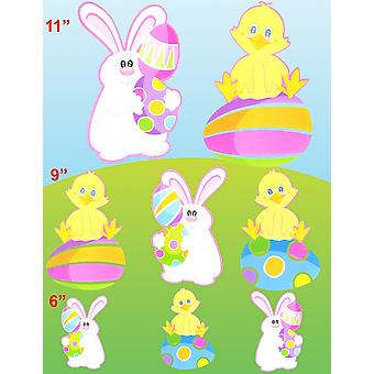 Pack of 8 Easter Animal and Egg Card Cut Outs Home Easter Decorations