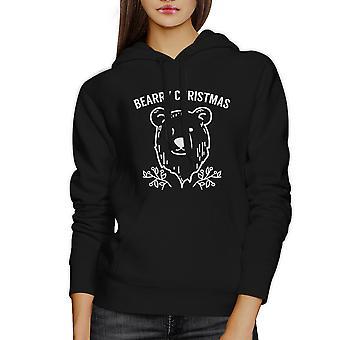 Bearry jul Bear Unisex sort grafisk Hoodie Fleece Pullover