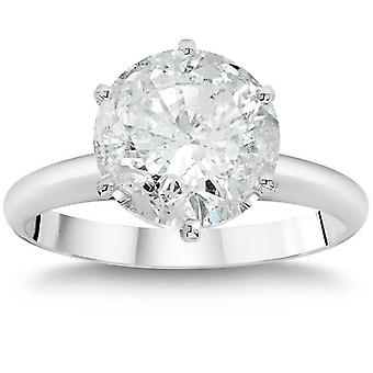 3ct Enhanced Round Diamond Solitaire Engagement Ring 14K White Gold