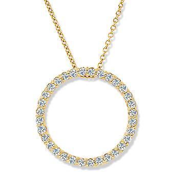 14K geel gouden 1 / 2ct cirkel van leven Diamond Pendant