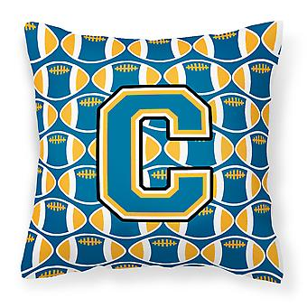 Letter C Football Blue and Gold Fabric Decorative Pillow