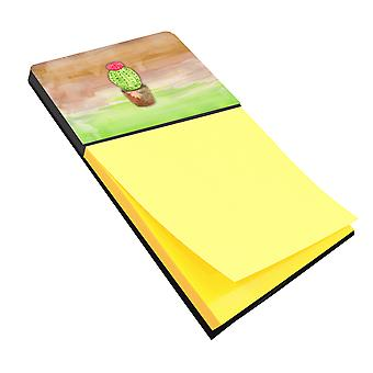 Cactus Green and Brown Watercolor Sticky Note Holder