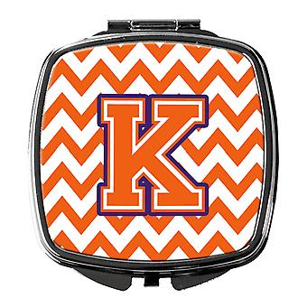 Letter K Chevron Orange and Regalia Compact Mirror