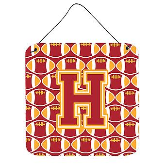 Letter H Football Cardinal and Gold Wall or Door Hanging Prints