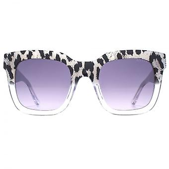 Guess Two Tone Leopard Print Sunglasses In Black
