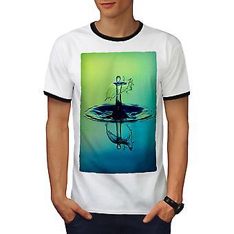 Drop Water Art Sea Men White / BlackRinger T-shirt   Wellcoda