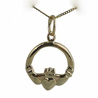 9ct Złota Pendant Claddagh 14x14mm z krawężnika łańcucha 16 cali nadaje się tylko dla dzieci