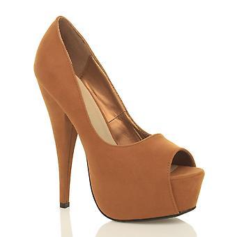 Ajvani womens platform high heel peep toe party court shoes sandals