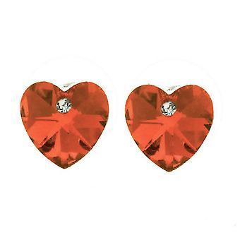Österrikiska Crystal Stone Orange hjärtformade strassörhängen