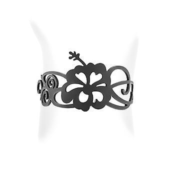 Bracelet Fleurs en Silicone Noir effet Tatouage