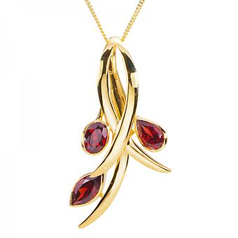 Shipton and Co Ladies Shipton And Co 9ct Yellow Gold And Garnet Pendant Including A 16 9ct Chain PYG070GR