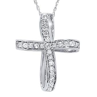 14K White Gold 1/2ct Genuine Diamond Cross Pendant