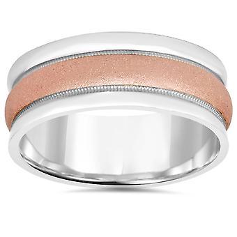 8 MM rosa y oro blanco dos tonos venda de boda de 14K