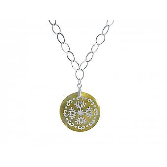 Necklace - necklace - pendant - Locket - 925 Silver - mother of Pearl - cream - 3 cm