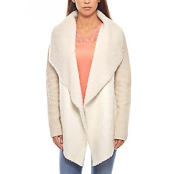 Fake fur knitted coat chunky knit jacket ladies beige B.C.. best connections deb69791fb