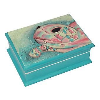 Sea Turtle krikand låg Keepsake træ kasse med spejl