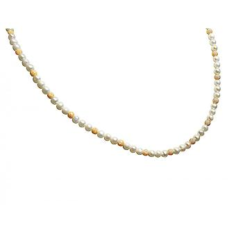 Gemshine - ladies - necklace - Pearl - White - gold plated - 45 cm