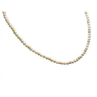 Gemshine - damer - halsband - Pearl - White - guldpläterad - 45 cm