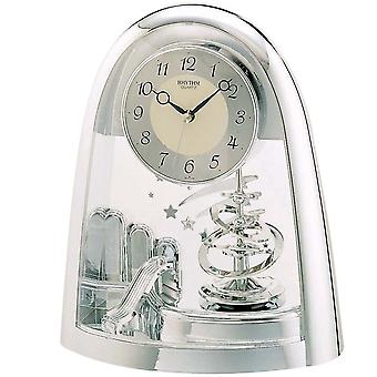 Table clock quartz watch silver with artfully crafted Rotary swing rhythm