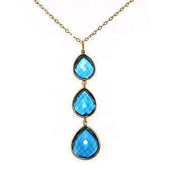 Necklace - silver - gold - plated quartz topaz - blue - dripping - 9 cm