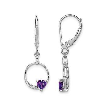 2/5 Carat (ctw) Amethyst Drop Heart Earrings in Sterling Silver