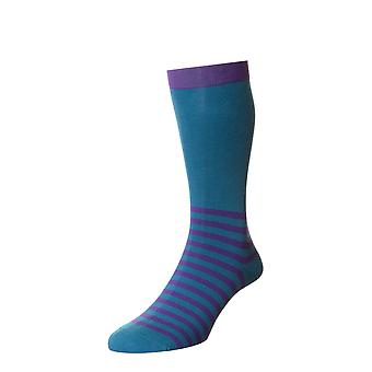 The Ranelagh men's cotton dress sock in petrol. English-made by Scott-Nichol