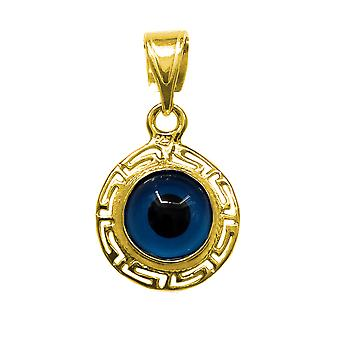Sterling Silver 18 Karat Gold Overlay Greek Key Theme Double Sided Evil Eye Pendant Charm