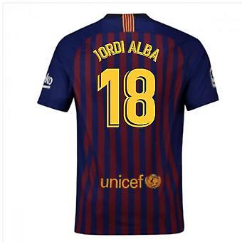 2018-2019 برشلونة المنزل نايكي لكرة القدم قميص (جوردي ألبا 18)-للأطفال