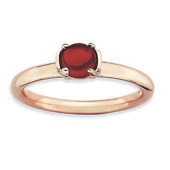 2.5mm zilver gepolijst Prong set stapelbare expressies Garnet roze-vergulde Ring - Ringmaat: 5 tot en met 10