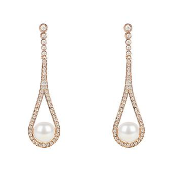 Perle d'Or Rose Rose goutte Dangle Earrings gemme CZ 925 argent mariage
