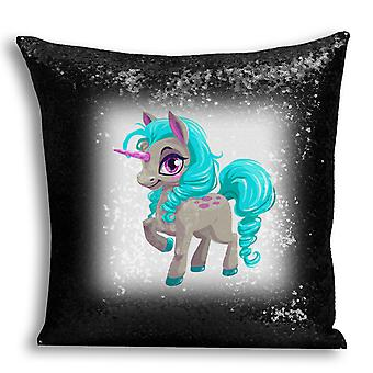 i-Tronixs - Unicorn Printed Design Black Sequin Cushion / Pillow Cover for Home Decor - 17