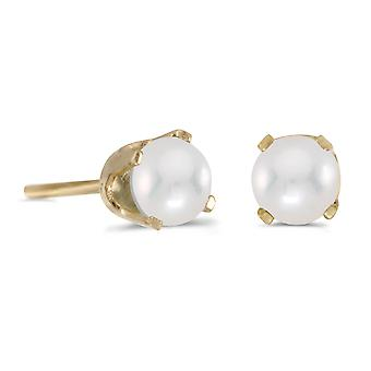 14k Yellow Gold 4 mm Freshwater Cultured Pearl Stud Earrings