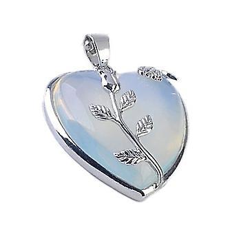 1 x Clear Opalite 35mm Leafy Heart Charm/Pendant CB29900