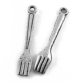 Packet 30 x Antique Silver Tibetan 25mm Fork Charm/Pendant ZX08225