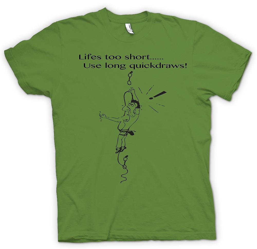 Mens T-shirt - Life's Too Short - Climbing Quickdraws